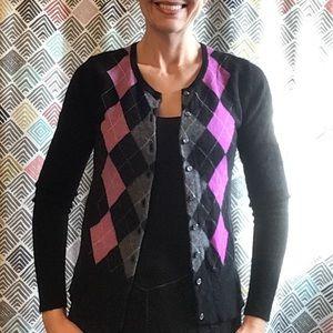 APT 9 pure cashmere argyle cardigan sweater XS S